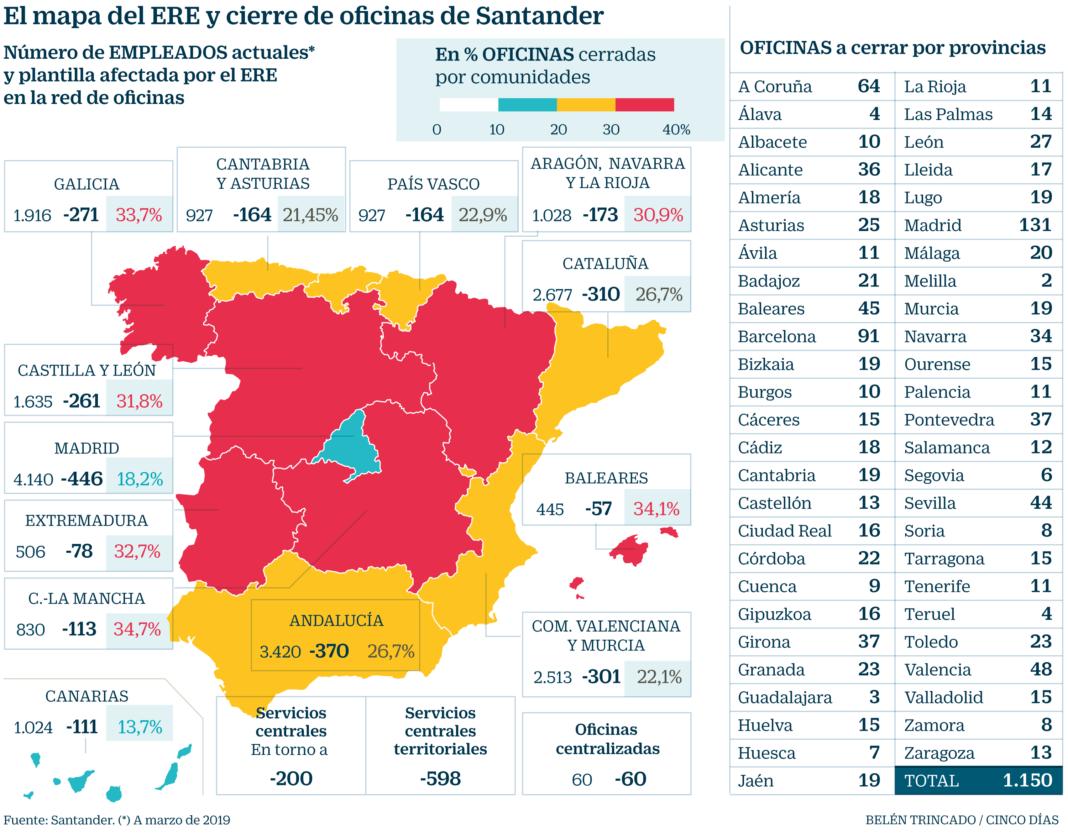 Mapa De Santander España.Mapa De Espana Con Los Despidos Y El Cierre De Oficinas Del